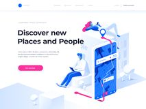 Navigation app with map. GPS and Tracking Concept. People chat and explore the route using smartphones. Isometric illustration. Navigation app with map and royalty free illustration