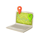 Navigation application on laptop computer screen. Map with GPS location mark displayed in portable PC monitor. Deliveri Royalty Free Stock Photography