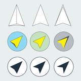 Navigation Arrow Flat Thin Line Icons Set. Collection of Navigator Direction Symbols. Navigation pointer flat thin line icons set. Navigator arrow symbols Stock Photo