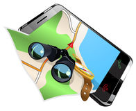 Navigation auf intelligenter Telefonvektorillustration Lizenzfreie Stockfotografie