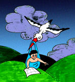 Navigation baby and stork Stock Photos