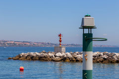 Navigation baken on coast a sea Royalty Free Stock Images