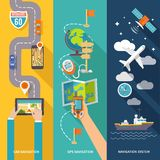 Navigation banner set. Navigation GPS routing system vertical  flat banners set with aircraft vessel position velocity detector abstract vector illustration Royalty Free Stock Photos