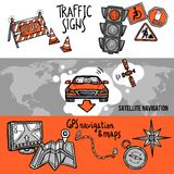 Navigation Banner Set. Navigation horizontal hand drawn banner set with traffic signs gps and maps elements isolated vector illustration Royalty Free Stock Photography