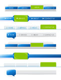Navigation bars. Blue and green navigation bars with rollover effect for website templates Royalty Free Stock Photo