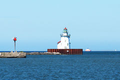 Navigation Beacon On Lake Erie. A lighthouse style navigation beacon that marks the entrance to the Port of Cleveland, Ohio on Lake Erie stock photo