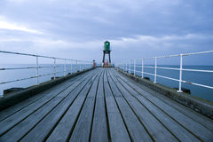 Navigation beacon on Whitby pier Stock Images