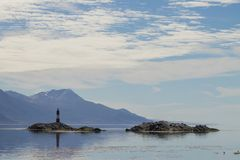 Navigation on Beagle channel, beautiful Argentina landscape. Navigation on Beagle channel, Argentina landscape. Tierra del Fuego fire southernmost ushuaia stock image