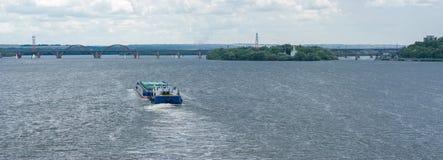 Navigation on a big Ukranian river Dnepr. In Dnepropetrovsk city, Ukraine stock photo