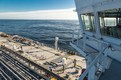 Navigation bridge and deck of oil tanker. Royalty Free Stock Images