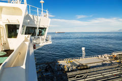 Navigation bridge and deck of a tanker Stock Image