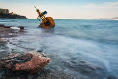 Navigation buoy Aground on the beach.  Royalty Free Stock Photography