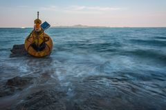 Navigation buoy Aground on the beach.  Royalty Free Stock Image
