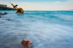 Navigation buoy Aground on the beach.  Royalty Free Stock Photos