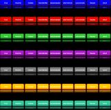 Navigation buttons 2. Editable website navigation button templates in 7 colors Stock Photography