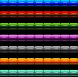Navigation buttons. Editable website navigation button templates in 7 colors Royalty Free Stock Image