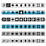 Navigation buttons, simple icons Stock Photos