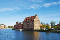 Navigation canal in the Gdansk,Poland. Cityscape with shipping canal in Europe in sunny weather stock photos