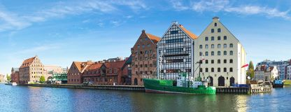 Navigation canal in the Gdansk,Poland. Panoramic cityscape with shipping canal in Europe in sunny weather royalty free stock photo