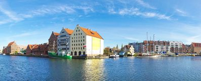 Navigation canal in the Gdansk,Poland. Panoramic cityscape with shipping canal in Europe in sunny weather stock photography