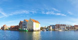 Navigation canal in the Gdansk,Poland. Panoramic cityscape with shipping canal in Europe in sunny weather stock image