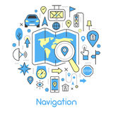 Navigation Cartography Thin Line Icons Set with Map and GPS Stock Images