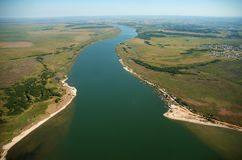 Navigation channel of the Port of the city of Pelotas. Rio Grande do Sul, Brazil, August 17, 2006. Aerial view of the entrance of the navigation channel of the stock image