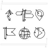 Navigation character set straight continuous line stock illustration