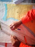 Navigation chart with navigation equipment stock photography