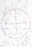 Navigation chart fragment, compass deviation symbol. Navigation chart fragment with compass deviation symbol Royalty Free Stock Images