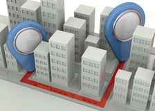Navigation in the City Concept - 3D Royalty Free Stock Photos