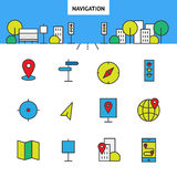 Navigation in the city. Set of vector  line icon. Flat illustration of city. Bright color city icon. Navigation icon for your site, banner Royalty Free Stock Image