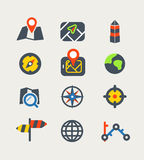 Navigation color web icons collection Royalty Free Stock Photography