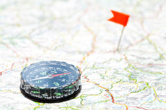Navigation with compass Stock Photo