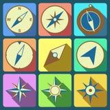Navigation compass flat icons set Stock Image