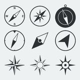 Navigation compass flat icons set Royalty Free Stock Photo