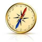 Navigation compass golden emblem Stock Photography