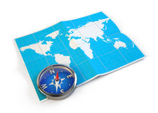 Navigation concept. Compass and world map Stock Photography