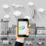 Navigation concept. Flat design Royalty Free Stock Photography