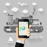 Navigation concept. Flat design Royalty Free Stock Images