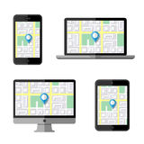Navigation concept. Flat icons Royalty Free Stock Photos