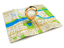 Navigation concept. GPS map of the city and golden pin. Royalty Free Stock Photos