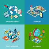 Navigation Concept Icons Set. With smart city symbols isometric isolated vector illustration Royalty Free Stock Images
