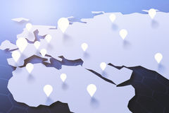 Navigation concept. Map with pointers. Navigation concept. 3D Rendering Royalty Free Stock Photos
