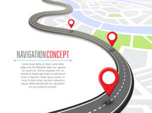 Navigation concept with pin pointer. Vector illustration. Cartography mapping, ui pinning, discovery, geotag, tourism geolocation. GPS navigation system banner Royalty Free Stock Photo
