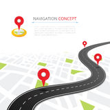 Navigation concept with pin pointer Royalty Free Stock Images