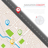 Navigation concept with pin pointer. Vector illustration. Cartography mapping, ui pinning, discovery, geotag, tourism geolocation. GPS navigation system banner Royalty Free Stock Photography