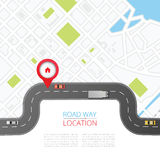 Navigation concept with pin pointer. Vector illustration. Cartography mapping, ui pinning, discovery, geotag, tourism geolocation. GPS navigation system banner Royalty Free Stock Images