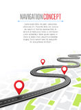 Navigation concept with pin pointer. Vector illustration. Map marker pointer on road map. GPS navigation system banner. Cartography mapping, ui pinning Stock Photo