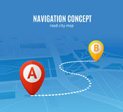 Navigation Concept Road City Map. Vector. Navigation Concept Road City Map. Distance between Points Vector illustration Stock Photography